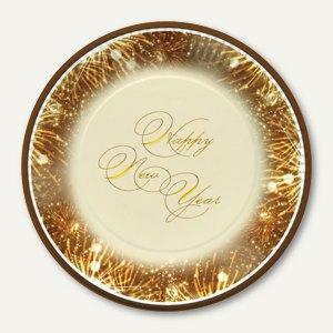 """Papstar Pappteller """"Happy New Year"""", rund, Ø 23 cm, 200 Stück, 85060"""