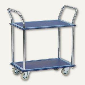 fetra Etagenwagen - 760x495x860 mm, Stahlblechplattform, 2 Ebenen, blau, 3112