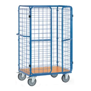 fetra Paketwagen, Ladefläche: 1.000x600mm, 600kg, Drahtgitter/Türen, blau,8581-3