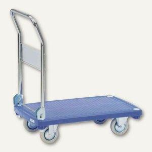 fetra Plattformwagen, Kunststoffplattform, 200 kg, klappbar, blau, 3130