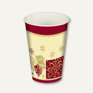 """Motiv Trinkbecher """"Christmas Symbols"""", 0.2 l, Ø 7 cm, H 9.7 cm, Pappe, 140 Stück"""