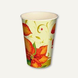 "Motiv Trinkbecher ""Christmas Flower"", 0.2 l, Ø 7 cm, H 9.7 cm, Pappe, 140 Stück,"