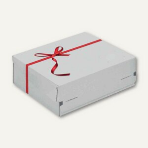 Geschenk-Versandkarton - Größe: S, rote Schleife, 250x177x96 mm, weiß/rot, CP 06