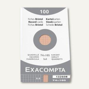 Exacompta Karteikarten DIN A7, kariert, orange, 100 Stück, 13260B