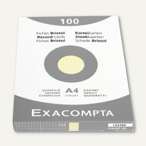 Exacompta Karteikarten DIN A4, kariert, gelb, 100 Stück, 13226E