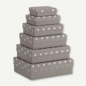 Rössler Kartonage STELLA, verschiedene Größen, grau, 6er Set, 13411187006