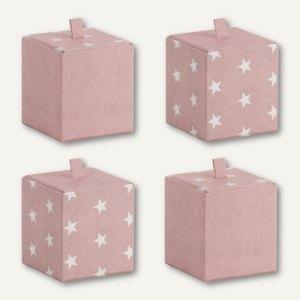 Rössler Vorratsbox STELLA, 95 x 95 x 100 mm, rosé, 4 Stück, 13421188002