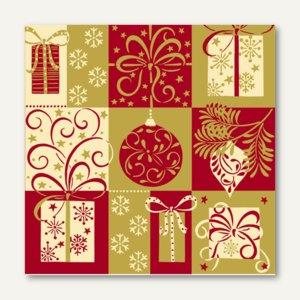 """Servietten """"Christmas Symbols"""", 3-lagig, 1/4-Falz, 33 x 33 cm, 300 St., 81621"""