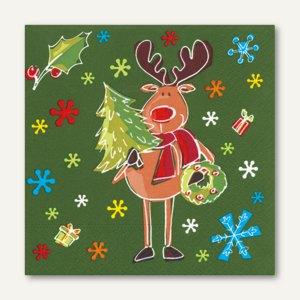 "Papstar Servietten ""Funny Moose"", 3-lagig, 1/4-Falz, 33 x 33 cm, 300 St., 10682"