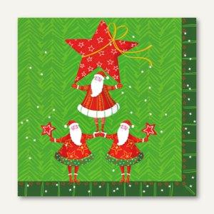 "Servietten ""Santa's Pyramide"", 3-lagig, 1/4-Falz, 33 x 33 cm, 300 St., 81619"
