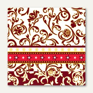 "Servietten ""Ornamentation red"", 3-lagig, 1/4-Falz, 33 x 33 cm, 300 St., 85040"
