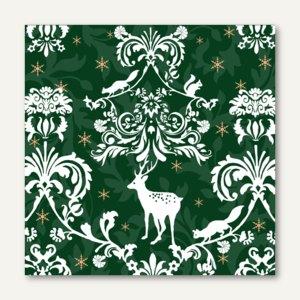 "Servietten ""Magic Christmas"", 3-lagig, 1/4-Falz, 33 x 33cm, grün, 300 St., 82440"