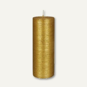 """Papstar Stumpenkerze """"Rustic"""" Glitter, Ø 6 x H 16 cm, gold, 6 Stück, 84433"""