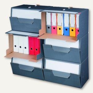Archivbox - 504 x 325 x 305 mm, perforierte Frontklappe, grau, 10St., 227160410