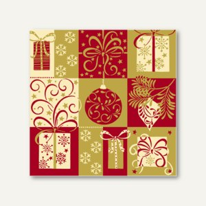 "Papstar Servietten ""Christmas Symbols"", 1/4-Falz, 25 x 25 cm, 600 St., 84291"