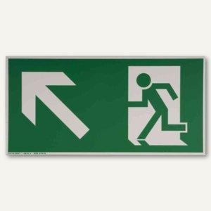 """Hinweisschild - """"Rettungsweg links / aufwärts"""", 297x148 mm, weiß/grün, 245186310"""