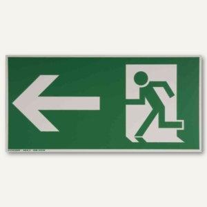 """Hinweisschild - """"Rettungsweg links / geradeaus"""", 297x148 mm, weiß/grün, 24518611"""