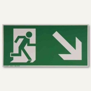 Hinweisschild - Rettungsweg rechts / abwärts