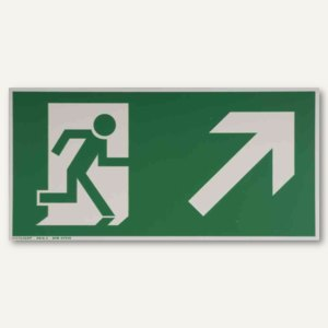 """Hinweisschild - """"Rettungsweg rechts / aufwärts"""", 297x148 mm, weiß/grün, 24518621"""