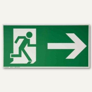 """Hinweisschild - """"Rettungsweg rechts / geradeaus"""", 297x148 mm, weiß/grün, 2451860"""