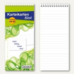 Karteikartenblock á 120 Karten, DIN A8, liniert, 170g/qm, weiß, 5 Stück, 125080