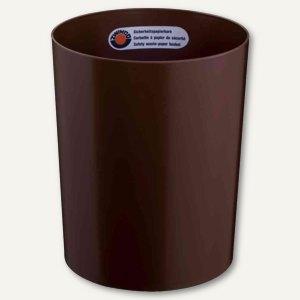 Sicherheits-Papierkorb, 13 l, schwer entflammbar, Kunststoff, 300x250mm, braun,