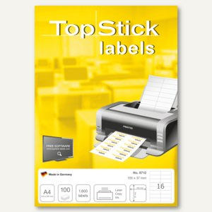 officio Topstick Universaletiketten, 105 x 37 mm, permanent, 16.000 Stück, 8712