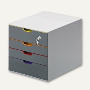 Schubladenbox VARICOLOR 4, 292x280x356 mm, abschließbar, 4 farbige Schubladen, 7