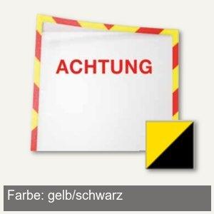 Infotaschen f. Warnhinweise - A4, magnetisch, 225 x 312 cm, gelb/schwarz, 5 St.,