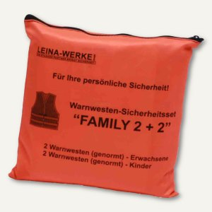 "Leina -Werke Pannenwesten/Warnwesten-Set ""Family 2+2"", orange, REF 13122"