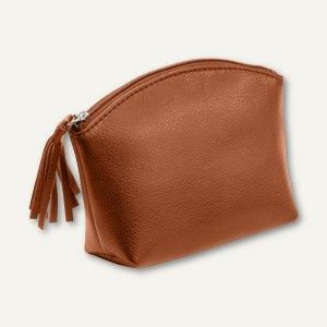 Alassio Handtaschen-Etui, Kosmetiktasche mit Reißverschluß, Leder, braun, 2706
