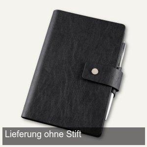 bind Notizbuch, DIN A6, 80 Blatt (liniert), Lineal, Lederimitat, schwarz, 16800