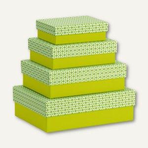 Rössler SANTORINI Kartonagen, rechteckig, grün, 4 Größen im Set, 13411198004