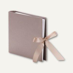 Fotoringbuch mit Schleife, 50 Seiten, 230 x 210 mm, taupe gerippt, 2er Pack, 131