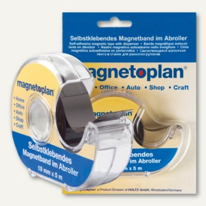 Magnetband im Spender - (B)19 mm x (L)5 m, selbstklebend, schwarz, 15510