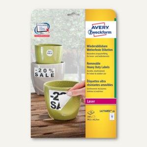 Folien-Etiketten, wetterfest, ablösbar, 99.1 x 42.3 mm, weiß, 240 Stück, L4776RE