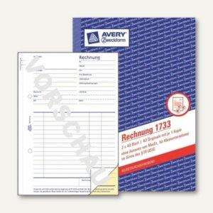 Zweckform Formular Rechnung DIN A5, f. Kleinunternehmer, SD, 2x40 Blatt, 1733