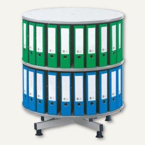 Ordnerdrehsäule - bis 72 Ordner, 2 Etagen, (Ø)1.000 x (H)930 mm, lichtgrau
