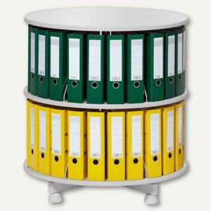 Ordnerdrehsäule - bis 48 Ordner, 2 Etagen (einzeln drehbar), (Ø)800 x (H)850 mm