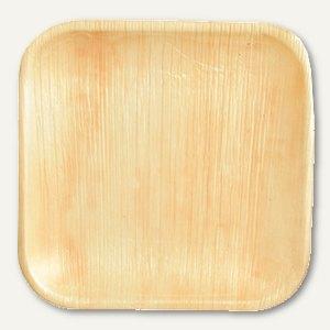 "Papstar Einweg-Teller Palmblatt ""pure"", eckig, 2 x 18 x 18 cm, 100 Stück, 85506"