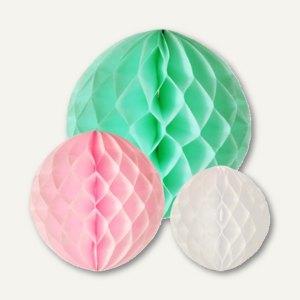 """Wabenbälle """"Pastel"""", Papier, verschiedene Größen und Farben, 45 St., 85670"""