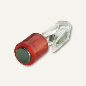 Power Magnet Zylinder Ø14 mm, Klammer, Haft 1900g, transparent-rot, 3 St., 4826-