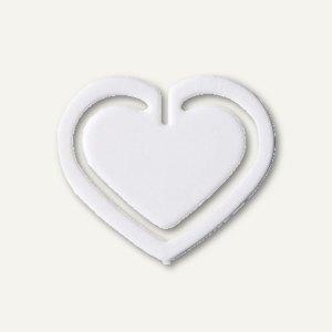 """Kunststoff-Büroklammern """"Herz"""", in Herzform, 30 mm, weiß, 100 Stück, 1402-10"""