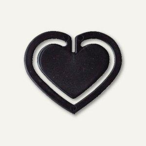 """Kunststoff-Büroklammern """"Herz"""", in Herzform, 30 mm, schwarz, 100 Stück, 1402-11"""