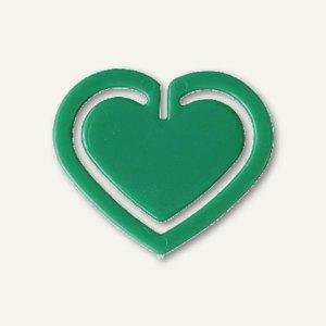 """Kunststoff-Büroklammern """"Herz"""", in Herzform, 30 mm, grün, 100 Stück, 1402-60"""