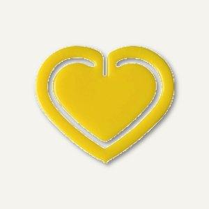 """Kunststoff-Büroklammern """"Herz"""", in Herzform, 30 mm, gelb, 100 Stück, 1402-70"""