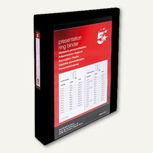 Präsentationsringbuch, A4, Rücken 47 mm, 4 Ringe, 4 Taschen, schwarz, 962162