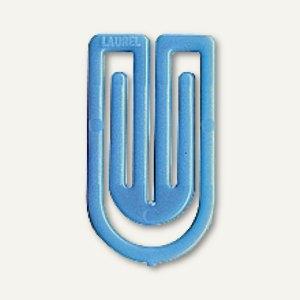 Laurel Kunststoff-Büroklammern King Klips, 32 mm, hellblau, 200 Stück, 1392-80