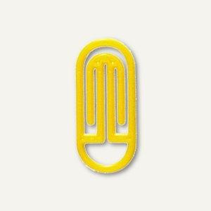 Kunststoff-Büroklammern Bogen King Klips, 30/38 mm, gelb, 100 Stück, 1362-70