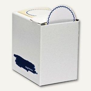 CSK Siegelsterne - selbstklebend, Ø 53 mm, blauer Rand, weiß, 600 Stück, 1018539